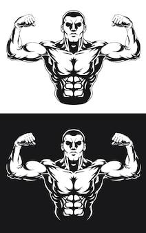 Pose de culturismo silueta frente doble bíceps
