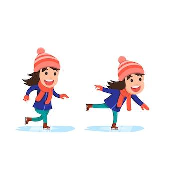Pose de una niña jugando a patinar sobre hielo