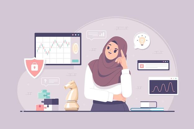 Pose de pensamiento hijab empresaria con concepto de estrategia empresarial