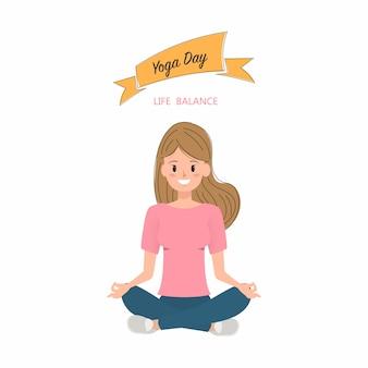 Pose de personaje de yoga de las mujeres.