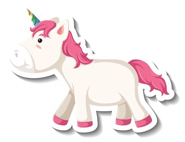 Pose de pie lindo unicornio sobre fondo blanco