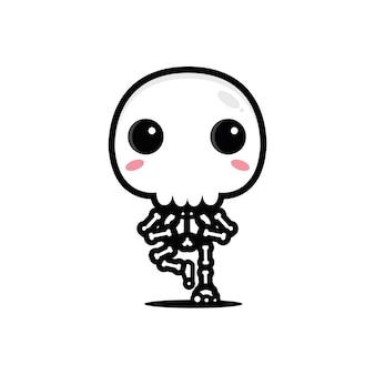 Pose de yoga esqueleto con diseño de gran cráneo