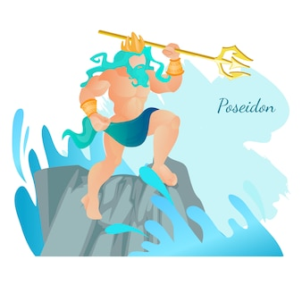 Poseidón dios de los mares y las aguas de pie en la roca