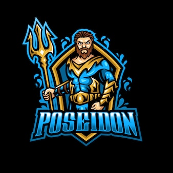 Poseidon neptuno mascota logo esport gaming
