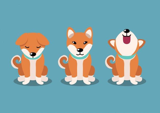 Poses de perro shiba inu, personaje de dibujos animados
