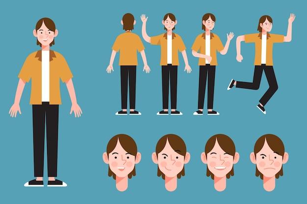Poses de personajes ilustradas