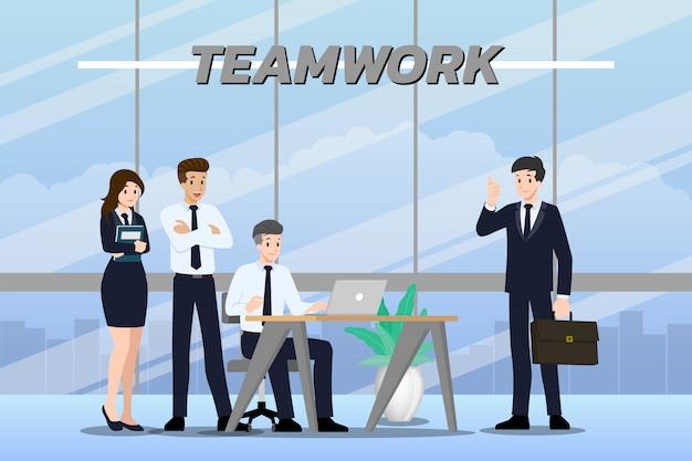 Poses de trabajo en equipo de empresario.
