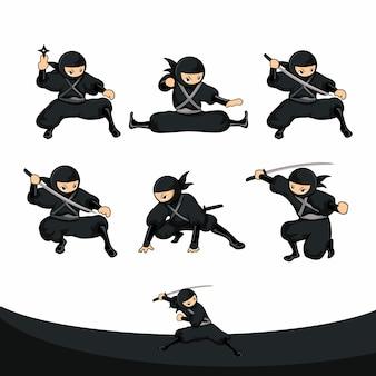 Posición baja ninja negro de dibujos animados en versión real