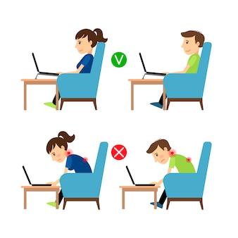 Posición incorrecta y correcta del uso de la computadora portátil