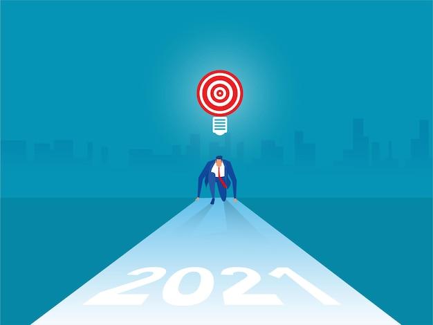 Posición inicial del empresario y listo para el año nuevo 2021 para la ilustración de metas y objetivos.