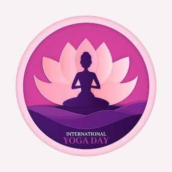 Posición de loto yoga en estilo papel