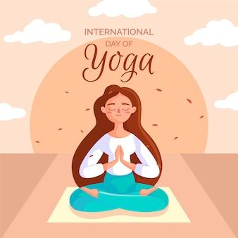 Posición de meditación día internacional del yoga