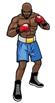 Posición de la postura del luchador de boxeo
