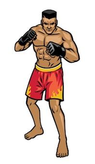 Posición de postura de luchador de mma aislado en blanco