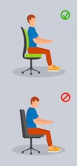 Posición sentada de la computadora, estilo plano