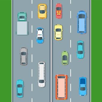 Posición de vista superior de diferentes coches en la carretera. estilo de diseño plano. ilustración