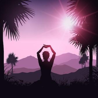 Posición de yoga en un paisaje tropical vector gratuito