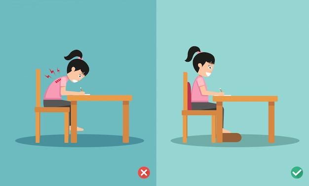Posiciones incorrectas y correctas de las posiciones para sentarse escribiendo en un libro, ilustración