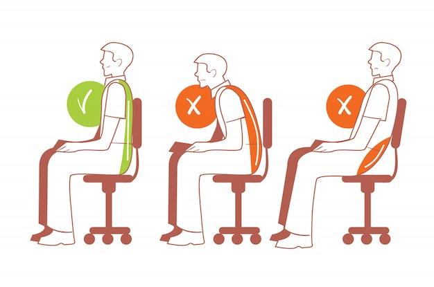Posiciones sentadas, postura correcta de la columna vertebral