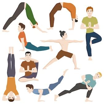 Posiciones de yoga mans personajes clase ilustración vectorial.