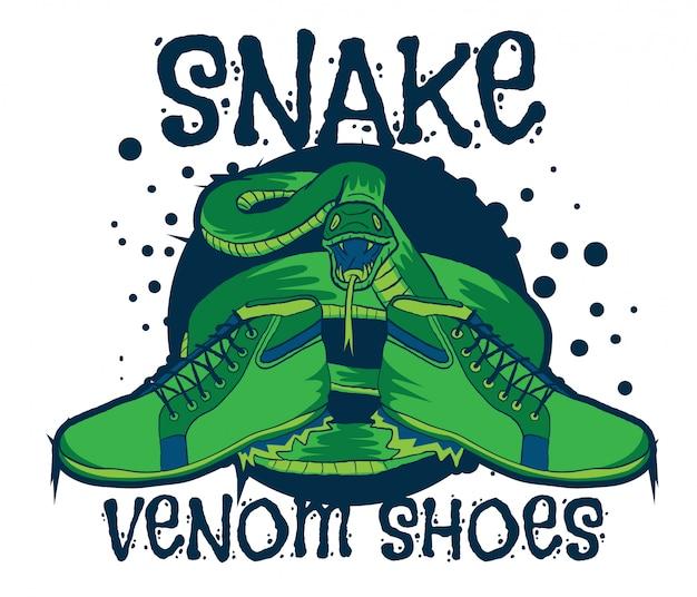 Posion veneno serpiente con zapatos vector illustration