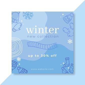 Post de facebook de invierno monocolor doodle