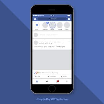 Post de facebook en el móvil con diseño plano