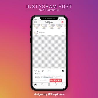 Post de instagram con fondo transparente