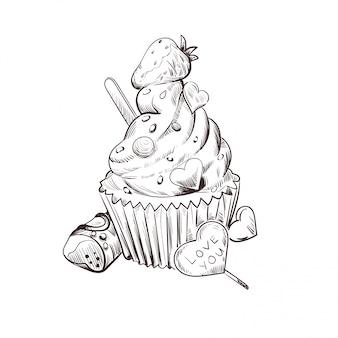 Postal el 14 de febrero, dulce presente y dulces ilustración vectorial.