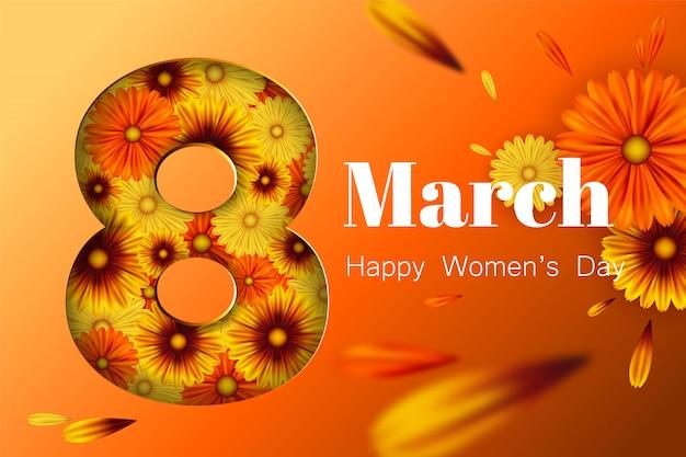 Postal para el 8 de marzo, con flores.