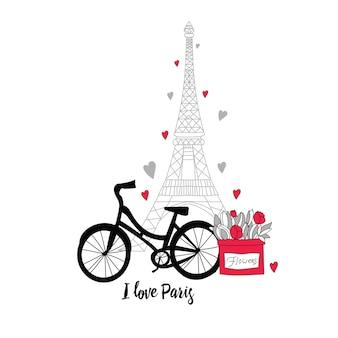 Postal al estilo de parís. torre eiffel, bicicleta, flores y corazones.