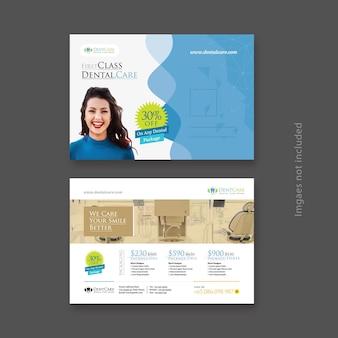 Postal azul de atención dental con fondo abstracto diseño de ambos lados