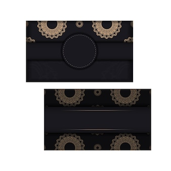 Postal en color negro con estampado de mandala marrón para tus felicitaciones.