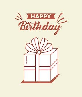Postal de feliz cumpleaños con caja de regalo