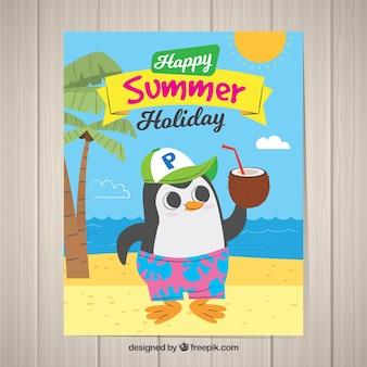Postal de vacaciones de verano con lindo animal