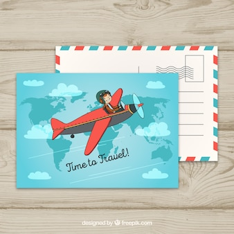 Postal de viaje con avión pequeño volando