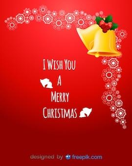 Postal les deseo una feliz navidad con un par de campanas en la esquina