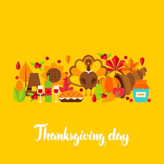 Postal del día de acción de gracias. ilustración de vector. concepto de vacaciones de otoño.