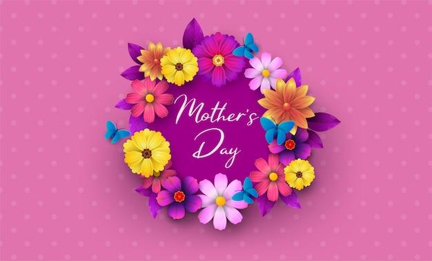 Una postal para el día de la madre, con flores de papel y una carta.