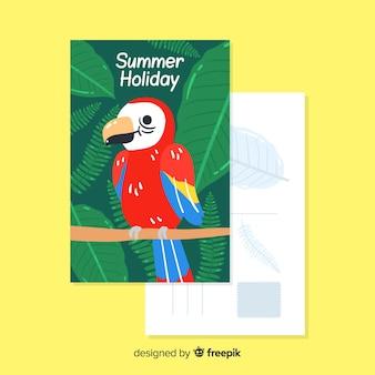 Postal dibujado a mano de vacaciones de verano