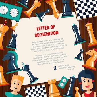 Postal de diseño plano aislado iconos de ajedrez con nombre