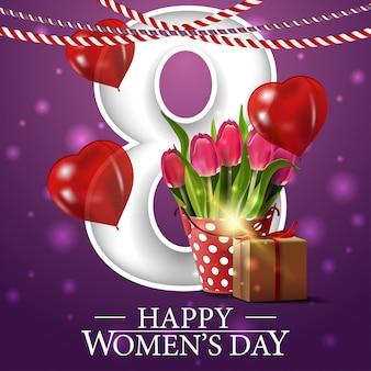 Postal de felicitación morada para el día de la mujer.