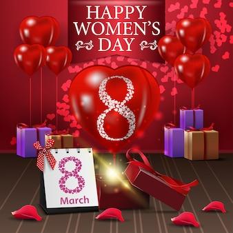 Postal de felicitación roja para el día de la mujer con blloon y regalos.