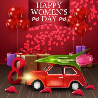 Postal de felicitación roja para el día de la mujer con blloon.