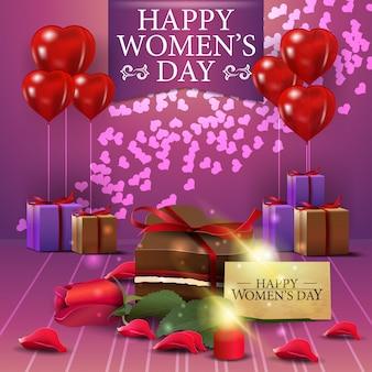 Postal de felicitación rosa para el día de la mujer con blloon.