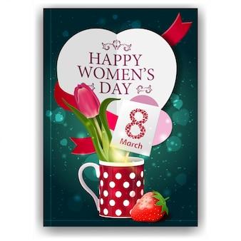 Postal de felicitación verde para el día de la mujer con tulipán en una taza