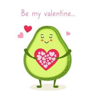 Postal del feliz día de san valentín aguacate con tarjeta de corazón, sé mi san valentín