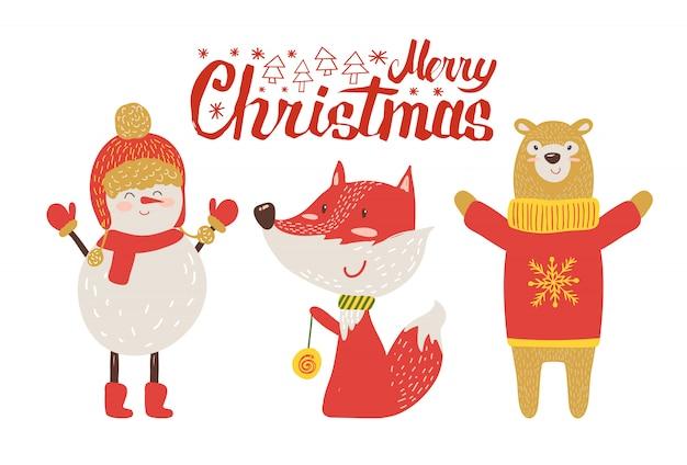 Postal de feliz navidad, animales de dibujos animados retro