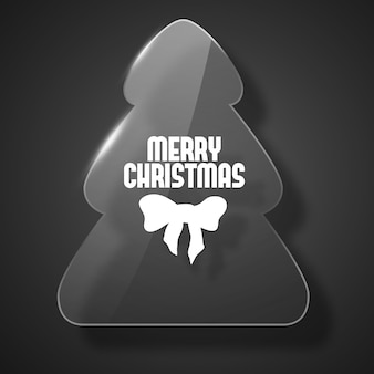 Postal de feliz navidad negra con silueta de abeto en ilustración plana de estilo de vidrio