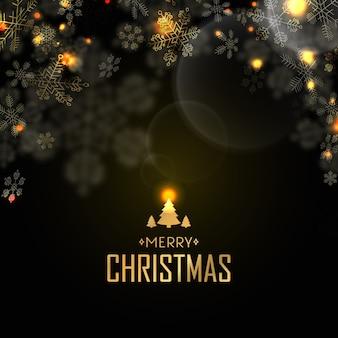 Postal de feliz navidad con víspera, luz de velas y muchos copos de nieve creativos en negro